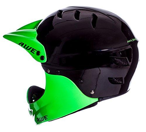 AWE® gratis 5Jahr Crash Ersatz * BMX Full Face Helm schwarz grün, Größe M 54–58cm - 5