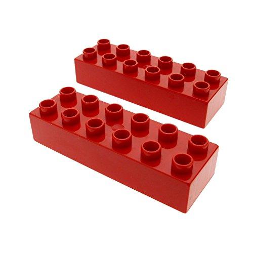 Preisvergleich Produktbild 2 x Lego Duplo Basic Bau Stein rot 2x6 für Set 10587 10545 6785 6168 5543 2987 2300