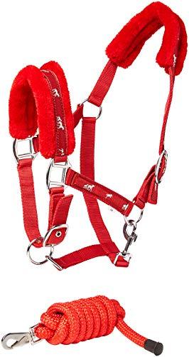 Cwell Equine della Stampa Cavallo Pelliccia capezza Imbottita Halter + Corrispondenza Piombo Rosso Taglie a Scelta (COB).