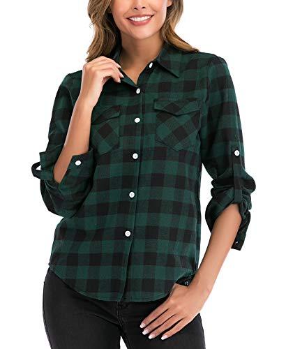 Camisa de Cuadros para Mujers Camisa Basiccon Botones 100% A