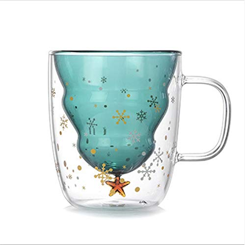 wanhaishop Taza de café Taza Linda de la Navidad de Doble Capa de café Copa de Cristal del té, Taza de Leche de los vidrios con Aislamiento Vasos Taza Espresso, for Hombres, Mujeres, K