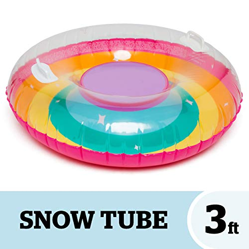 BigMouth Inc. Rainbow Snow Tube – 3 ft. Wide Inflatable Snow Tube with Easy Grip Handles, Made of Durable Vinyl with Welded Seams – Makes a Great Gift, Multicolor