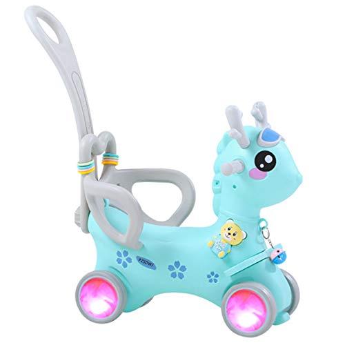 ZHKXBG Baby Schaukelpferd, Kinder Schaukel, Kind Schaukel Tier, Indoor Outdoor Baby Schaukelstuhl, Geschenk für 1-3Y,Blau,Pulley