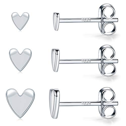3 Pairs Sterling Silver Heart Stud Earrings for Men & Women- Hypoallergenic Minimalist White Gold Plated Small Cartilage Earrings(3mm/4mm/5mm)