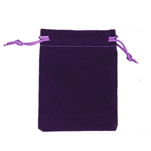 KUPOO 50 Pieces Wholesale Lot Velvet Pouches with drawstrings,pouches bags 3 X 4 Inch (Purple)
