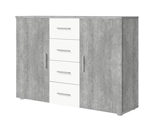 Furniture24 Kommode Vera - 26, Sideboard mit 4 Schubladen und 2 Türen (Beton Colorado/Weiß)