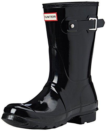 Hunter WOMENS ORIGINAL SHORT GLOSS - Stivali di gomma non imbottiti da donna, colore Nero, taglia EU 36