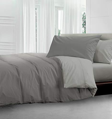 HomeLife Colcha reversible de 1 plaza y media, 100 gramos, 220 x 250 cm, fabricada en Italia, para cama de matrimonio, ligera, primaveral y otoñal, color gris