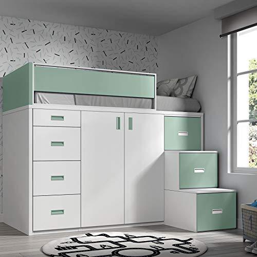 *ROS Möbel Hochbett mit Schrank und Schubladen, 165x204x165cm*
