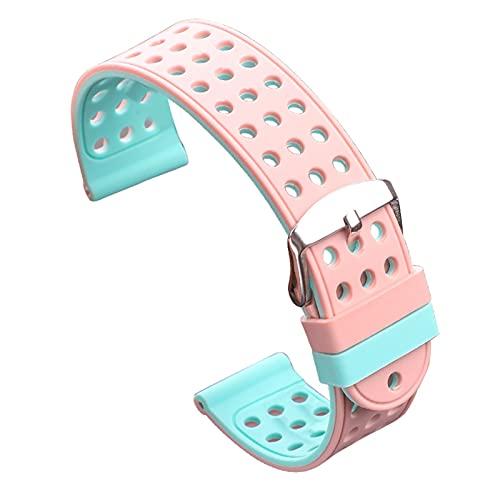 kasu Banda de reloj de goma de silicona 18 mm 20 mm 22 mm 24 mm Mujeres Moda Moda Dos tonos Tiras transpirables Reloj de reloj Accesorios de reloj ( Band Color : Pink and Blue , Band Width : 18mm )