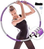 Hula Hoop Reifen Erwachsene, Stabiler Edelstahlkern mit Premium Schaumstoff, 6 Segmente Abnehmbarer Hula Hoop, Gewichten...