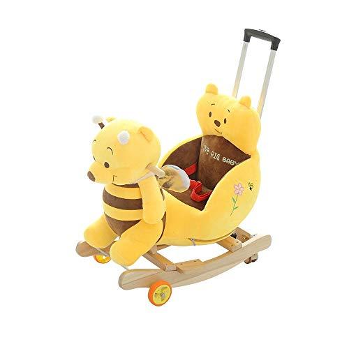 NXYJD Silla de Caballo Mecedora Multifuncional para niños 2 en 1 con música Cochecito de bebé Paseo en Juguetes Silla de Empuje 360 Rueda Universal