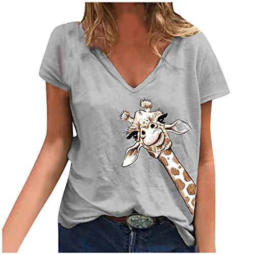 Longshirt Damen Krumme Giraffe T-Shirt Shirt V-Ausschnitt Kurzarm Oberteile Hemd Casual Tops Bluse Sommer Oberteile Oben Hemd Grafik Oberteile Female Teenager Mädchen top