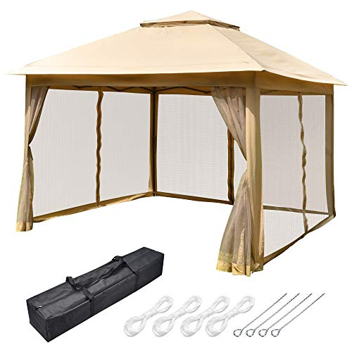 Yescom All-in-1 11x11ft Pop-Up Gazebo Tent with Mesh Sidewall Carry Bag Canopy Shelter for Outdoor Yard Garden Patio
