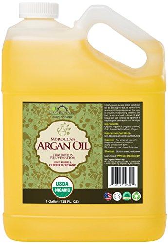 US Organic Moroccan Argan Oil, USDA Certified Organic,100% Pure & Natural, Cold Pressed Virgin, Unrefined, Origin_Morocco (1 Gallon (128 oz))