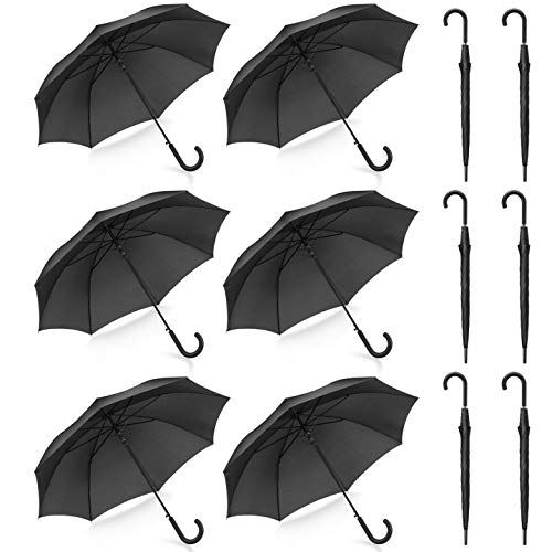 Pack of 12 Parties Events Stick Umbrellas Large Canopy Windproof Auto Open J Hook Handle in Bulk (Matte Black)