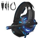 ゲームヘッドセット PS4 Syncwire ゲーミングヘッドセット【最大36か月保証】ゲームヘッドフォン PS4 / スイッチ/PC 用 まいくつきヘッドホン FPS対応 LED搭載 軽量 (ブルー)