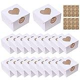 20 Piezas Mini cajas para tartas Mini cajas de pasteles con ventana en forma de corazón y adhesivas,cajas de galletas cajas de papel para alimentos,galletas,pasteles pequeños,tartas,magdalenas White