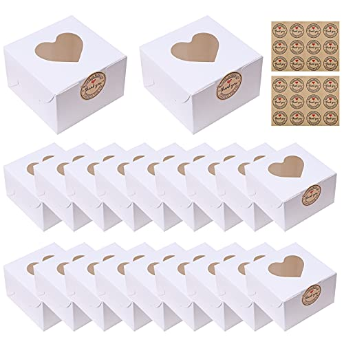 20 pezzi mini scatole per torta scatole per biscotti con finestra trasparente a forma di cuore scatole per cibo con adesivi confezioni regalo in carta scatole per dolci per Biscotti Torte White