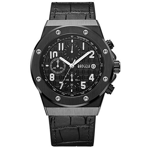 BAOGELA Armbanduhr Herren Uhren Schwarz Leder Armband und All Black Zifferblatt Militär mit Groß Chronograph Kalender Wasserdicht und Leuchtend XL
