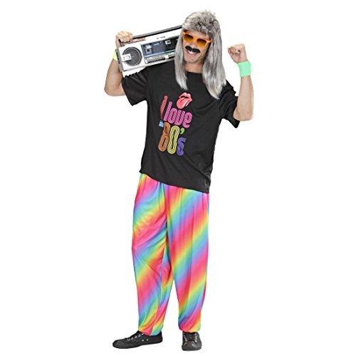 Amakando 80er Jahre Jogginghose Retro 80`s Hosen M/L 50/52 Regenbogen Baggy Pants Rainbow Hose Karnevalskostüme Herren lustig Bad Taste Partyhose Mottoparty Stoffhose