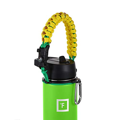 IRON °FLASK Paracord Handle - Fits Wide Mouth Water Bottles - Durable Hydro Carrier, Secure Accessories, Survival Strap Cord, Safety Ring, and Carabiner - Seven Core Paracord Bracelet (Sunflower)
