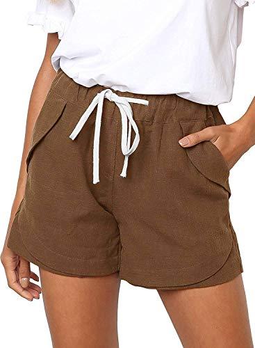 Shorts Damen Sommer Kurze Hosen Tunnelzug Elastische Stoffhose Solide Baumwolle Leinen Strand Shorts mit Taschen (262-Kaffee, Medium)