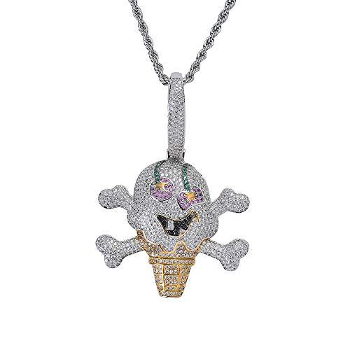 LSXX Pirateneis Anhänger Piraten Schädel Halskette Edelstein Halskette Cyber Punk Anhänger Einstellbare Kristall Halskette