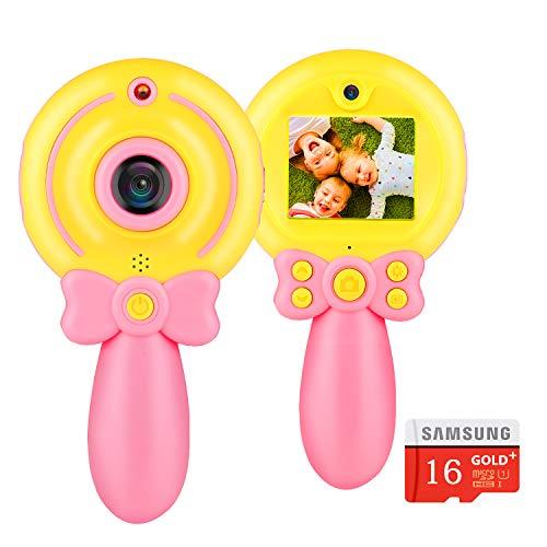 UUQ Camara Fotos niños, Camara de Video Tarjeta Micro SD 16G con asa a Prueba de Golpes, Camara Digital de Fotos Infantil, Regalos para Niños Pequeños