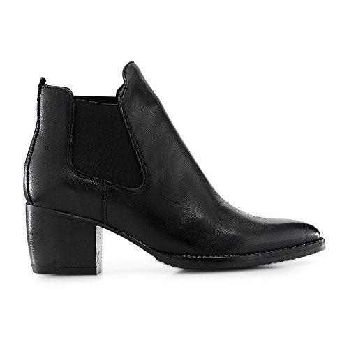 Cox Damen Chelsea-Stiefelette aus Leder, Stiefel in Schwarz mit bequemen Blockabsatz Schwarz Leder 40