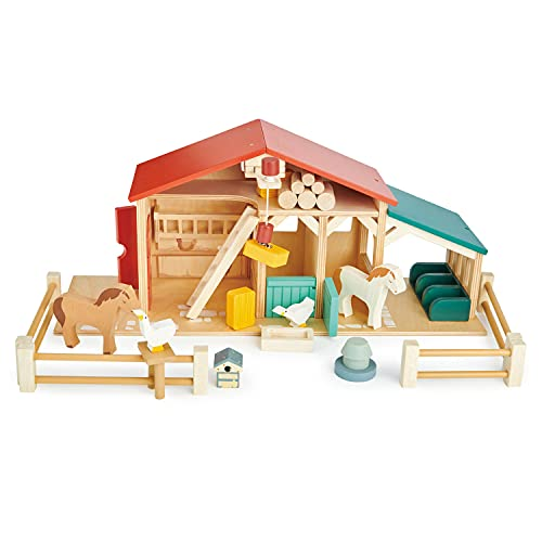 Tender Leaf Toys - Tender Leaf Farm - Realistic Colorful Wooden Farmhouse Toy Set for Creative Pretend Play for Kids 3+