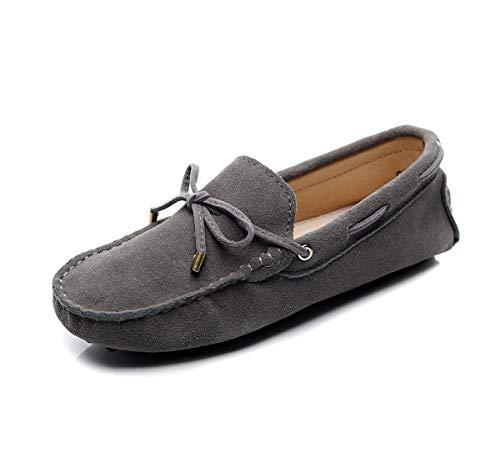 Jamron Damen Klassisch Wildleder Krawatte Loafers Gemütlich Handgefertigt Mokassins Slippers Grau 24208-2 EU39.5