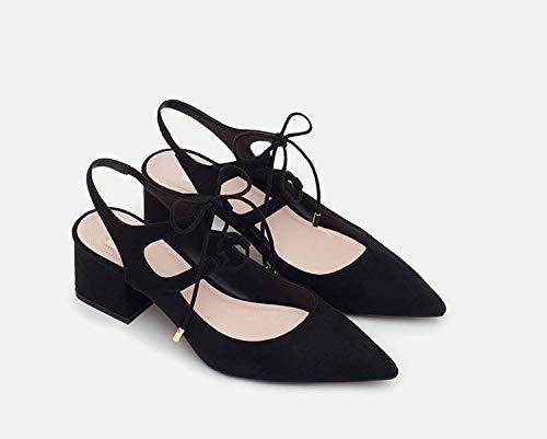 Shukun Dames sandalen Dames Schoenen Dikke Met Bandjes Hoge Hak Pu Punt Sandalen Fluwelen Persoonlijkheid Met Romeinse Schoenen Dames Schoenen