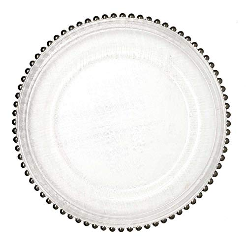 Lovely Glass Dinnerware Formal 13-Inch Beaded Rim Clear Glass Charger Plate Wedding Receptions Anniversary Dinners Modern Appeal Glass Plates (24, Silver)
