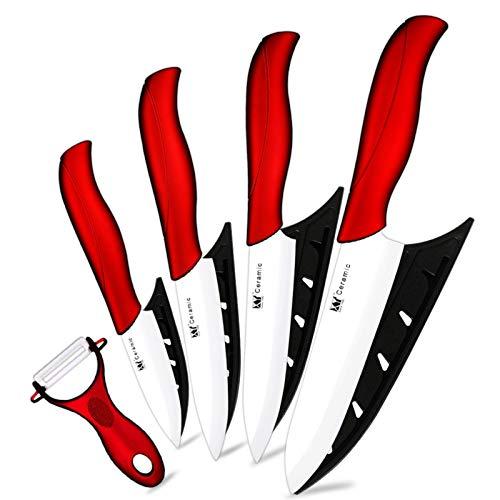 Cuchillo de cerámica 3 4 5 6 pulgadas Cuchillos de cocina Conjunto Peeler Zirconia Negro Blanco Blade Fruta Chef Cuchillo Vege Cocinero Herramienta Soporte Funda (Color : Red 5 Pcs Set 2)