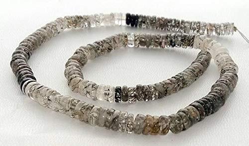 LOVEKUSH LKBEADS Naturliga svarta rutinerade kvarts släta pärlor, heishi-pärlor, 5 mm - 6 mm, 35 cm långa trådar [E1486] rutilerade ädelstenspärlor kod-HIGH-33044