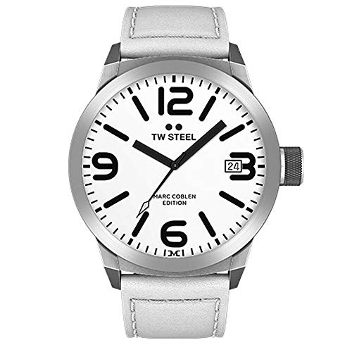 TW Steel Herren Analog Quarz Uhr mit Leder Armband TWMC43