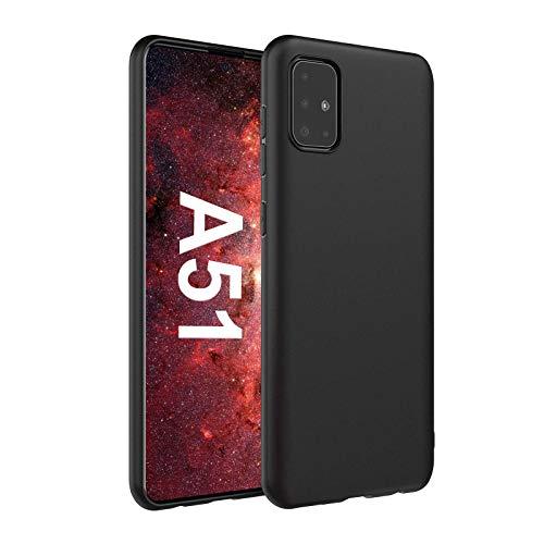 Ylife Hülle Kompatibel mit Samsung Galaxy A51,Fallschutz Slim Schwarz,TPU Weiche Schutzhülle,Stoßfest Feine Matte Handyhülle für Samsung Galaxy A51