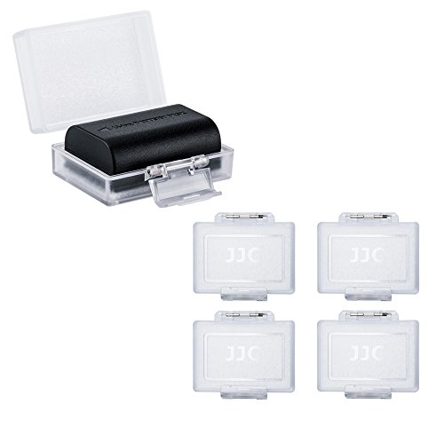 """JJC Camera Battery Case Holder Box for Canon LP-E17 LP-E10 LP-E6 LP-E6N,Nikon EN-EL15a EN-EL14,Fujifilm NP-W126 NP-W126S,Sony NP-FW50 NP-FW100 and More Camera Battery Pack Below 2.36"""" x 1.65"""" x 0.94"""""""