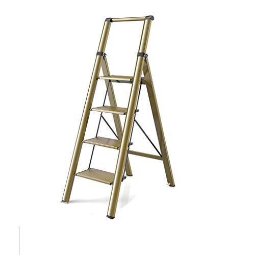 Multifuncional Escalera con 4 la banda de rodadura, Portátil antideslizante aleación de aluminio escalera de 150 kg Capacidad de carga Escalera plegable de construcción estable