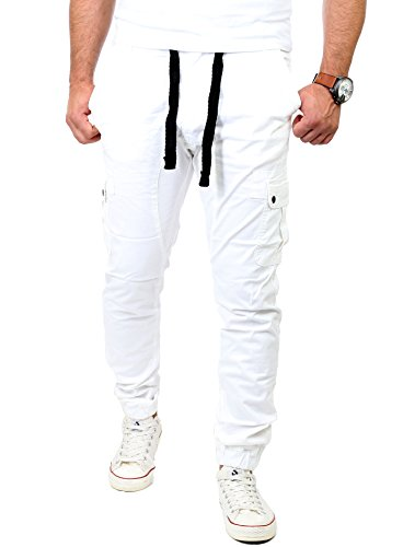 Reslad Chinohose Herren Jogging Jeans Chino Freizeithose Cargo-Hose Jogginghose RS-2084 Weiß W38