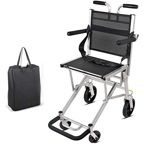 MU Silla de Ruedas Ligera de la Carretilla, Discapacitados/Anciano Camarero Bolsa Ajustable Reposabrazos No Neumático Llanta/Teclas de Ancianos Vespa