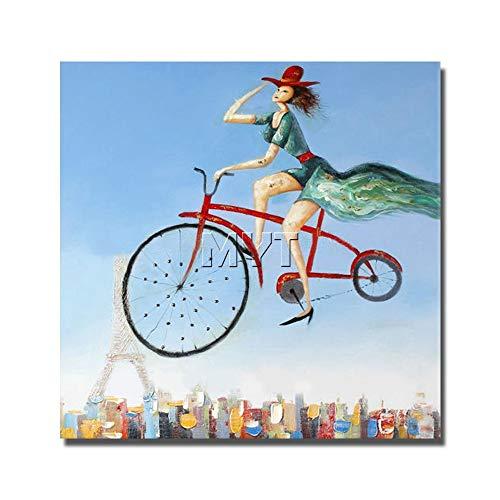 WunM Studio olieverfschilderij op canvas met de hand geschilderd, grote spatel afbeelding schilderen, abstract meisjes vliegen met fiets-, professionele kunst decoratie voor woonkamer slaapkamer hotel café 130 x 130 cm
