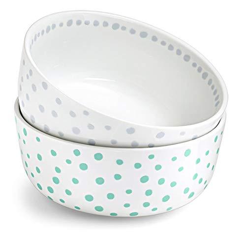 Tchibo 2 Müslischalen Punkte Grün & blau-grau Muster Porzellan Müslischalen