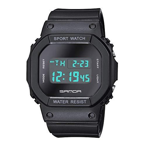 Sport Digitaluhren Multifunktion Kalender Herrenuhren Alarm LED Quadratisch Armbanduhren für Herren Schwarz Silikonband