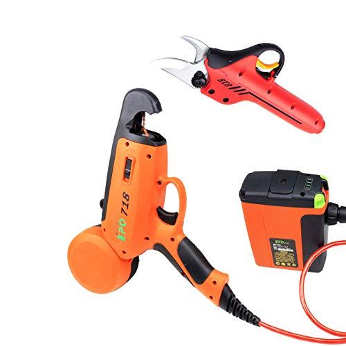 SIRUL Tijeras de podar eléctricas inalámbricas Profesionales, Kit de máquina para Atar Ramas de árboles frutales eléctrica inalámbrica, con Mochila, batería de Litio Recargable de 4.4Ah