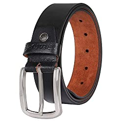 Creature Formal/Casual Black Color Genuine Leather Belts For Men (Length- 46 inches||BL-020)