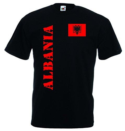 World-of-Shirt Herren T-Shirt Albanien EM 2016 Trikot Fanshirt|schwarz-M
