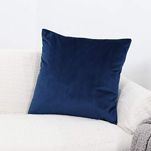 GYROHOME Pack of 2 Velvet Soft Soild Decorative Rectangle Square Throw Pillow Covers Cushion Case for Sofa Bedroom Car (Navy, 12'x20')