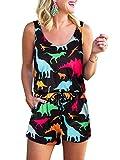 Womens Romper Summer 3D Colorful Dinosaur Printed Casual Tank Top Short Pants Jumpsuit Sleeveless Scoop Neck Elastic Waist Drawstring Loose Cami Beach Rompers Bodysuit For Party Playwear Jumpers - Medium